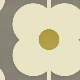 Behang Orla Kiely - Giant Abacus Flower - Beige of grijs