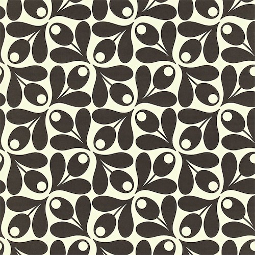 Behang Orla Kiely - Small Acorn Cup - zwart/wit of creme