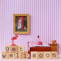 Wenskaart - Flamingo - Get well soon