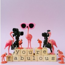 Wenskaart - Flamingo - You're fabulous