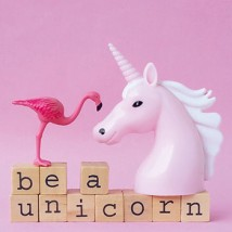 Wenskaart - Flamingo - Be a unicorn
