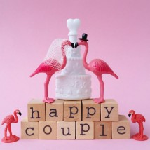 Wenskaart - Flamingo - Happy Couple