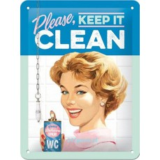 Retro Metalen reclamebord - 15cmx20cm Keep it clean